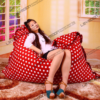 FREE SHIPPING 140*180CM red color white dot bean bags online 100% cotton living room big bean bags lazy chair without filling