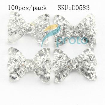 100pcs 3D Bows Nail Art Silver Glitter Kawaii Resin Bow Nail Art Decorations DIY Decorated Nails Tips Acrylic Nails  SKU D0583X