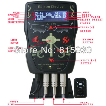 130713-15 edison top quality  with wifi Pro Full Digital PWM control ED-380 Tattoo Power Supply  tattoo equipment cheapest