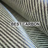 Hight quality Yellow Twill  Hybrid Carbon Fabric , Carbon-Aramid Fabric  ,Carbon-Kevlar Fabric