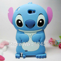 Free Shipping Fashion 3D Stich Silicone Soft Back Case Cover For Samsung Galaxy note2 N7100