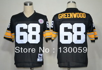Free Shipping American Football Jerseys Cheap Pittsburgh #68 L.C.Greenwood M&N Throwback Jerseys,Mix Order