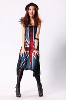 Free shipping summer sundresses new fashion 2013 mid-calf geometry printed casual black dress british flag novelty dress
