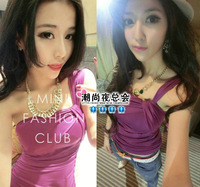 1224 sexy hip slim one-piece dress summer oblique elegant women's purple skirt