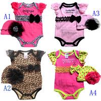 Leopard print baby romper lace hat 2pcs set