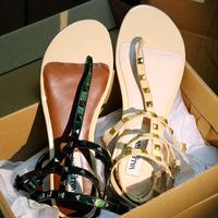 Summer genuine leather flat japanned leather flat heel fashion rivet flip women's shoes sandals vale