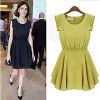 Fashion Womens Summer Tunic Sleeveless Pleated Dresses Yellow Navy US XS S M L BK360