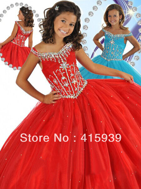 lovely cupcake beauty cap sleeve organza beaded girls pageant