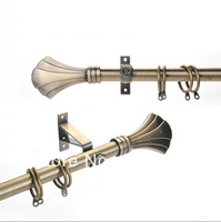 High quality  22mm(7/8inch) dia.&0.98mm thick single curtain rod set with shell metal  finial  plating antique brass MOQ 3M