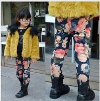 5pcs/lot wholesale baby girl's autumn & winter thick flower leggings children skinny pants kids pencil boots pants free shipping