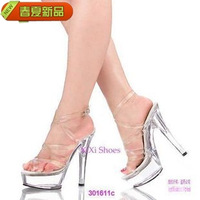 Sexy high-heeled women's ultra high heels bandage gladiator platform transparent crystal sandals plus size shoe