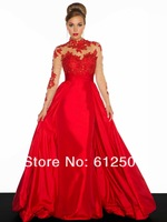 Best selling Long Sleeveless Prom Dresses Crew Neck A Line Opne Back Beads Applique Taffeat yk8F515