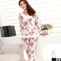 Elegant sleepwear thin long sleeve length pants knitted cotton 100% women's sleep underwear set lounge