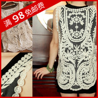 New arrived Cute dress 866 cutout crochet lace shirt full embroidery flower transparent vest shirt free shipping
