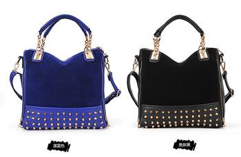 rivet patchwork shoulder handbags women bags designers handbags high quality messenger bag leather bags 2013