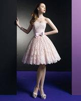 New Design Customize Lace Ribbon Bow Sash Sweet Pink Waist Keen-length Short Bridal Destination Wedding Dress Wedding Gown