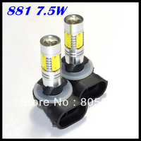 Free Shipping!!! H27 881 7.5W smd Chip LED Fog Light, 7.5W Fog Light With Clean Lens H1 H3 880 881 T10