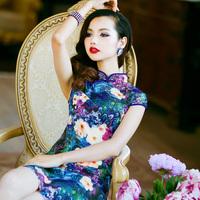 Summer fashion vintage satin cheongsam formal dress blue 2013 one-piece dress sexy cheongsam dress