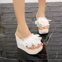 2013 slippers sweet beaded flower flip flops platform wedges women's platform sandals