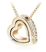Heart-shaped necklace fashion Over drilling white k plated charms jewelry wholesale FREE SHIPPING LM-N037