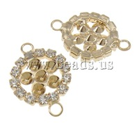 Free shipping!!!Brass Connector Settin Flat Round,Jewellery, KC gold color plated, with rhinestone & 1/1 loop, nickel