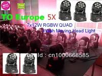5pcs/lot free shipping rgbw quad led wash moving head lighting advanced 7/12 channels 7x12w moving head