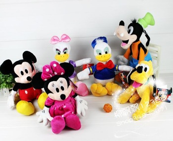 Fee Shipping Promotion mickey Minnie mouse Donald Duck goofy dog Pluto the dog, 30-40 cm, plush toys dolls 6pcs/1 lot