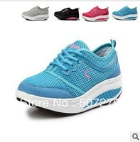 Fashion Lace-Up Casual Breathable Women's Shoes Leather Gauze Height Increasing Fitness Running Sport  Athletic Shoes LC012