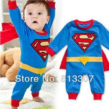 envío gratis 1 bebé pieza superman mameluco manga larga bata peleles infantil niño bebé vestido disfraz de halloween(China (Mainland))