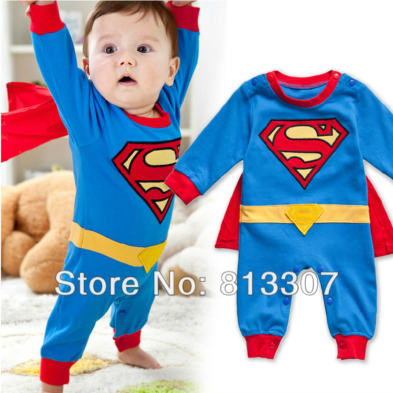 Free Shipping 1 piece Baby Romper Superman Long Sleeve Baby Dress Smock Infant boy Rompers Halloween Costume(China (Mainland))