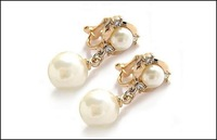 14K Gold plated Fashion Clip Earrings With Pearl Free shipping Pearl Jewelry YE043