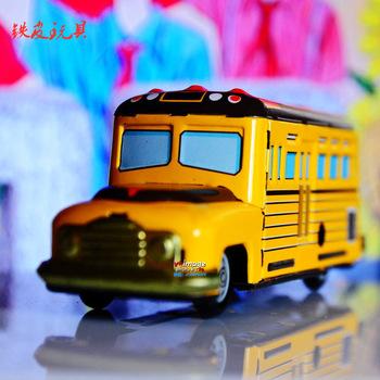 Metal classic wind up toys big yellow school bus accidnetal frog metal model n
