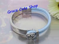 Free Shipping Lady Fashion Bangles Designer Logo Gold/Silver Plating Top Quality Package (Dust Bag,Gift Box) #JCB465-Light Blue