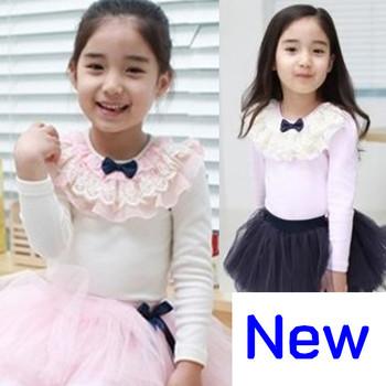 shij066 new 2013 autumn supernova sale autumn -summer  baby girls t-shirts long sleeve white blow lace children t shirts blouses