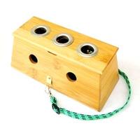 Pamboo 3 holes moxibustion box moxa roll moxibustion device 3 moxa box utensils box