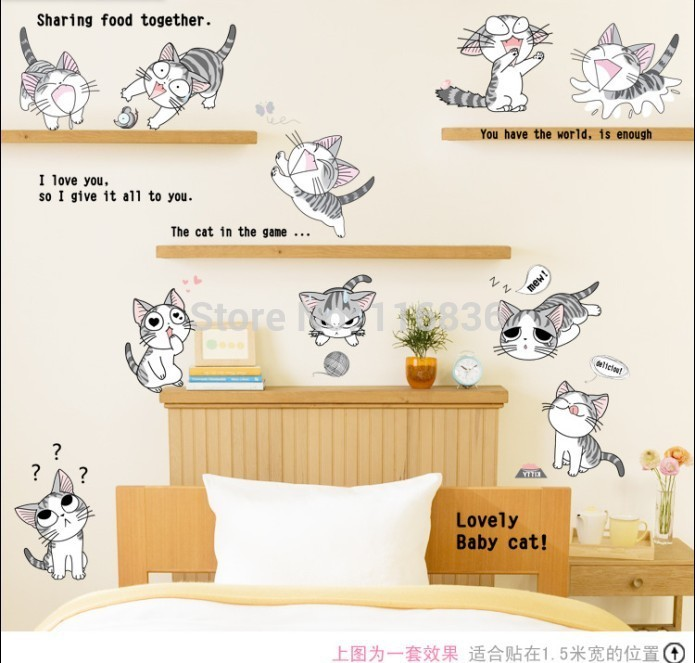 Wall stickers home decor lovely baby cat cartoon walls for Cat home decorations