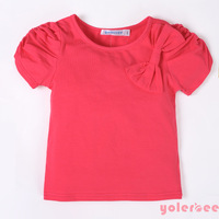 Female child summer solid color bow red t-shirt o-neck girls clothing fashionable casual short-sleeve