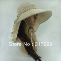 New Fashion Woman Beige Foldable Outdoor UV protection Sun Hat Sandy Beach Hiking Cap