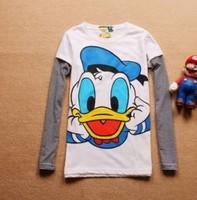Free ship Women's lady t-shirts cartoon 100% cotton duck long sleeve t shirt