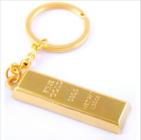 2014 new fashion business novelty items Free Shipping Creative Personalized gift gold bars bullion gold brick keychain fob chain