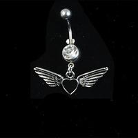 MOQ15USD Simple and elegant brief titanium umbilical ring navel ring puncture accessories love oil wings umbilical ring