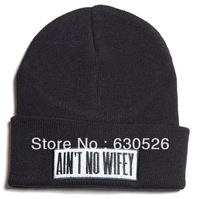 AIN'T NO WIFEY  Beanie  pure black Woolen  beanie Snapback Hat fashion beanie  free shipping fee wholesale price