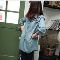 6061 women's national trend vintage embroidery shirt long-sleeve turn-down collar medium-long denim shirt female