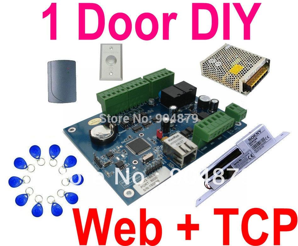 Web IP Control+ TCP/IP Single 1 Door+1 Wiegand ID reader Door Access controller Panel system+Power+Exit Button+Elec