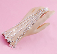 Free Shipping Charm Wedding Prom Jewelry Set Bracelet Ring Set Chain Inlay Rhinestone Crystal