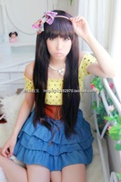 Free Shipping Black Long 65cm Trim Bangs To Eyes Synthetic Cosplay Hair Wig,Daily Real Hair