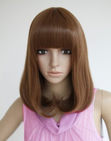 Free Shipping Pear Bob medium-long light brown synthetic hair wig,real hair