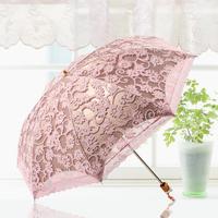 Beautiful double layer lace umbrella super sun shade in 100% anti-uv umbrella sun protection umbrella