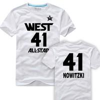 Wholesale price summer 2013 West all star t-shirt #41 Nowitzki short T-shirt jerseys, NO MOQ