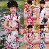 Child cheongsam female child summer girl costume one-piece dress peacock flower girl guzheng costume princess dress